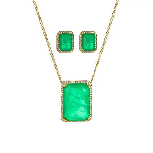 925 plata esterlina esmeralda moissanite preciosa pendientes / colgante / collar compromiso boda joyería de lujo establece regalos