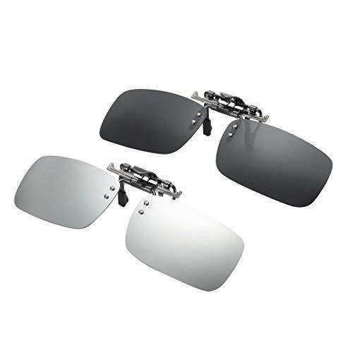 Bonarty 2x Polarisierte Clip On Klappbrille Mit UV400 Objektiv Für Myopie Sonnenbrillen