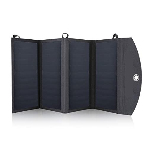 ZhuFengshop Paneles Solares Plegables Portátiles, Impermeables, Duales, 5V/2.1A, Cargador De Panel Solar USB, Banco De Energía para Batería De Teléfono, 25W (Color : Black)