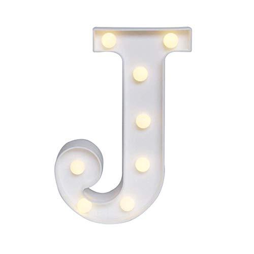 Yolispa Vintage Letra Grande LED Luces Marquesina Letra Luces Alfabeto Símbolo Luces Noche Luz ABC Signo Boda Cumpleaños Navidad Fiesta-J