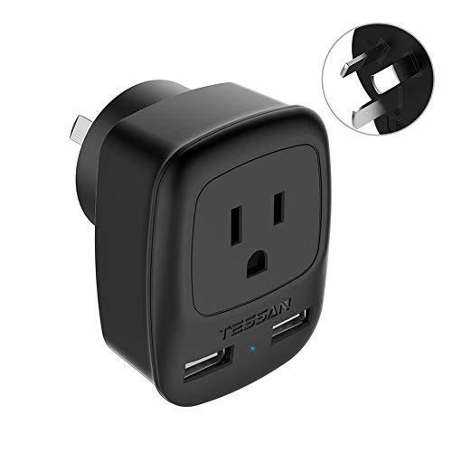 Australia Power Plug Adapter, TESSAN New Zealand Power Adapter with 2 USB Ports, Type I Plug Adapter for US to Australia, China, New Zealand, Fiji, Argentina