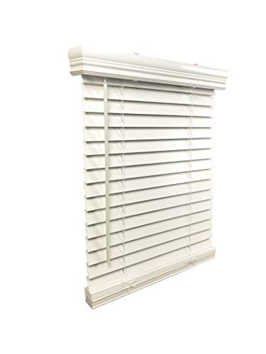 """US Window And Floor 2"""" Faux Wood 24"""" W x 43"""" H, Outside Mount Cordless Blinds, 24 x 43, White"""
