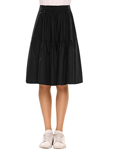 Chigant Women Casual Elastic Waist A Line Pleated Skirt Party Holiday Wear to Work Pleated Skirt Black