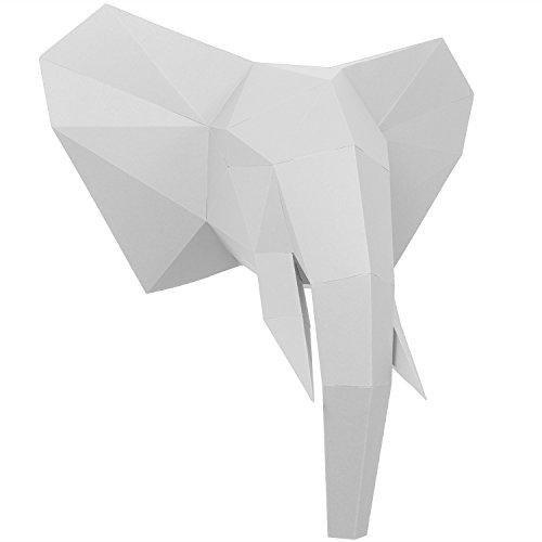 PaperShape 3D Elefant Ausgeschnitten, vorgefalzt und ohne kleben - Tierkopf Wand-Deko aus FSC-Papier in 3 Farben Elefanten-Kopf Maße 44 x 43 x 23 cm. Made in Germany (Pure White)
