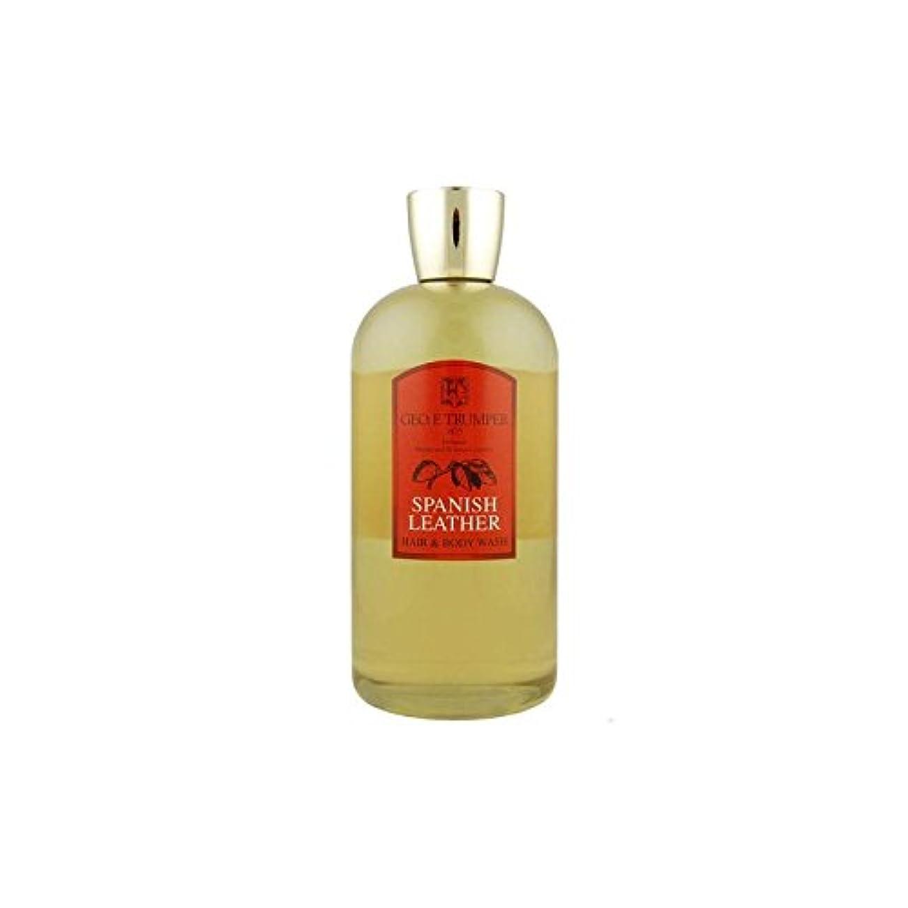 燃やすカレンダーブロック革の髪とボディウォッシュスペイン語 - 500ボトル x4 - Trumpers Spanish Leather Hair and Body Wash - 500mlTravel Bottle (Pack of 4) [並行輸入品]