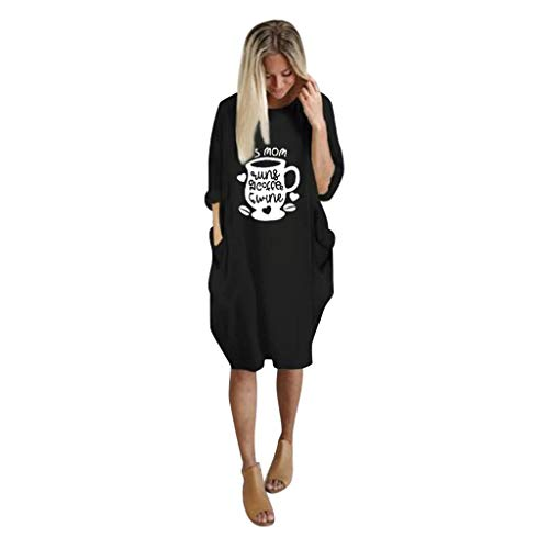 GreatestPAK Damen Taschen Pullover Minikleid Übergröße Baggy Langarm Lose Kleider,Schwarz,2XL