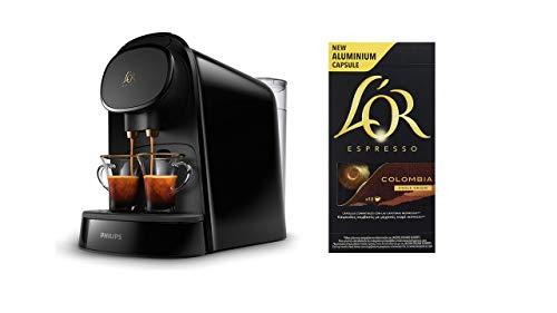 Pack Philips L'OR Barista LM8012/60 - Cafetera compatible con cápsula individual/doble, 19 bares presión, depósito 1L, color negro + L'Or Espresso Colombia 5 paquetes 10 cápsulas