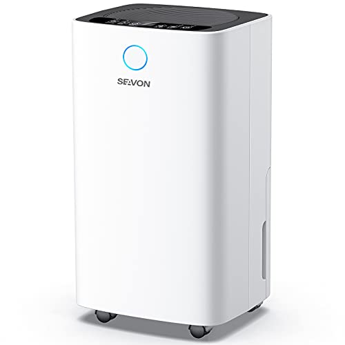 SEAVON 30 Pint 2,000 Sq. Ft Dehumidifiers for Basements Home with Drain Hose, Intelligent Humidity Control, 2L Water Tank, Ideal for Large Room, Bedroom, Bathroom, Living room