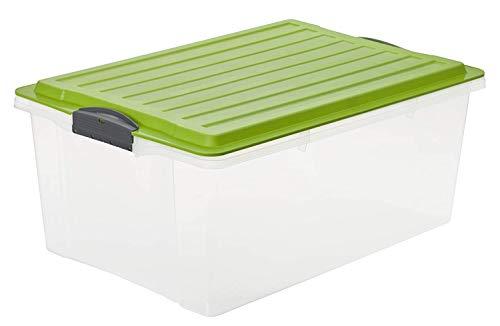 Rotho Eco Compact Aufbewahrungsbox 38l - 57 x 40 x 25 cm - transparent/grün