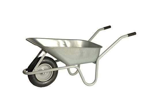 LIMEX Schubkarre Bauschubkarre Gartenkarre | 85 Liter | Grau | Mulde verzinkt