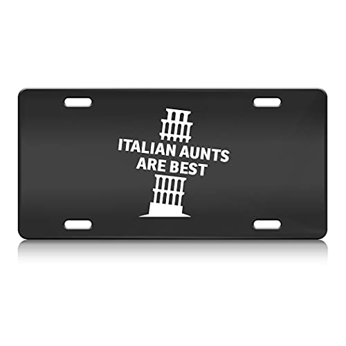 Press Fans - Italian Aunts are Best Italy Pisa Tower S.Steel Car SUV Truck License Plate Decorative Tag Black-D#k18
