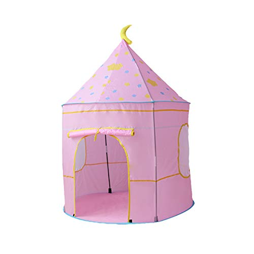 """Childrens Teepee Play Tent With Floor Mat, Easy Installation Yurt Style Moon Stars Pattern Kids Castle Play Tent For Indoor And Outdoor Games, 41""""x 41""""x 53"""" (Pink Childhood)"""