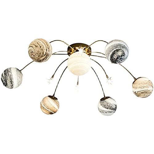 LEDlámpara de techo Luces de la habitación de los niños creativos extravagantes, luces de techo del dormitorio planeta, estrellas cálidas nórdicas, arte creativo de personalidad, tierra errante, luces