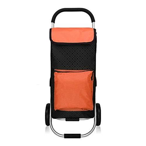 Boodschappentrolley van aluminiumlegering, boodschappentrolley, inklapbaar, draagbaar, kruiwagen, afmetingen 40 x 45 x 92 cm, Oranje. (Oranje) - WKMJUSX