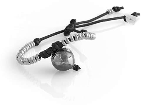 nubu Pulsera de plata 925 con diamante y cordón, para mujer y hombre, pulsera de viaje artesanal, ajustable, hecha a mano en Italia Negro
