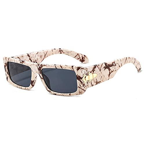 Gafas De Sol Hombre Mujeres Ciclismo Gafas De Sol Rectangulares De Moda para Mujer, Gafas De Leopardo Coloridas Y Vintage para Hombre, Gafas De Sol Cuadradas-White_Leopard_Grey