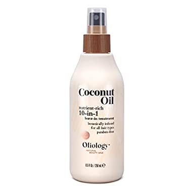 Oliology Coconut Oil 10-in-1 Multipurpose Spray – Leave in Treatment for All Hair Types | Detangles, Controls Frizz…