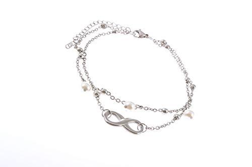 Damen Fußkette mit Herz, Unendlichkeitszeichen, Schmetterling in Silber | Frauen Schmuck aus Edelstahl | Doppelkette Edelstahl für Mädchen mit Verschluss (Unendlich)