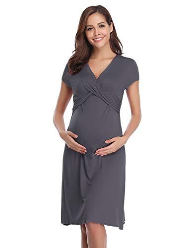 Hawiton Pigiama Camicia da Notte Premaman da Donna Morbido in Cotone Vestito Camicia da Notte per Parto Ospedale Allattamento (L: IT 46, A-Grigio Scuro)