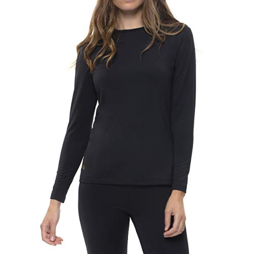 Copper Fit Women's Long Sleeve Thermal Shirt, Black, Large