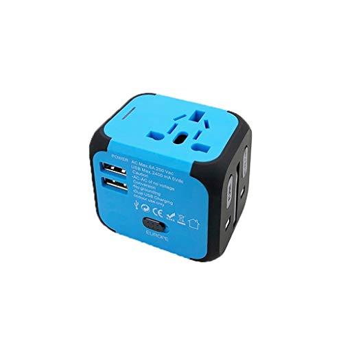 QWZ Adaptador de Viaje Universal, Universal Internacional, Todo en un Adaptador de Pared de Viaje en Todo el Mundo, Adaptador de Enchufe de alimentación de CA (Color : Blue)