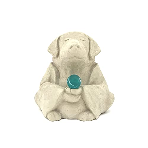 Meditating Buddha Dog w/Zen Sphere: Solid Durable Stone. Perfect for Home, Garden or Gift. Sealed for Outdoor Use. Handcrafted in USA (Classic White)