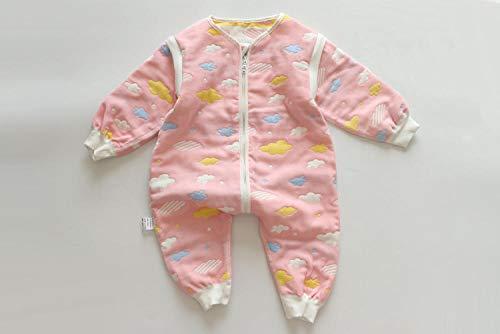 B/H Decke Kinderwagen Schlafsack,Herbst und Winter verdickter Baumwollgaze Schlafsack,Neugeborene Anti-Kick Quilt-Pink D_M,Kinderschlafsack waschbar