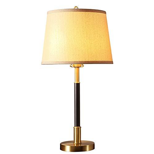 HLJJ-Z Mesita de luz de la lámpara, Llena Cobre Lino Dormitorio de la luz LED de Noche Moderna lámpara de Escritorio con Pantalla de Tela, for el Dormitorio, Sala de Estar, Sitio de niños, Oficina,fá