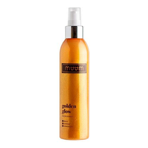 muum - Golden Glow loción hidratante con brillo, con Aloe Vera - Tonificante, iluminadora y anti imperfecciones - Partículas con efecto brillo - Revitaliza y rejuvenece tu piel - 200 ml.