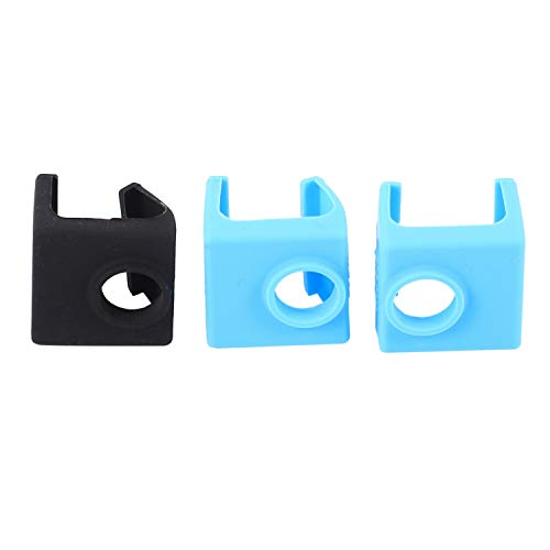 Katigan 3D Printer Mk10 Silicone Socks, 3D Printer Parts Heater Block Silicone Cover Thermal Silicone Sock For Wanhao I3 Makerbot Mk10 Style Extruders - 3 Pack, Blue+Black