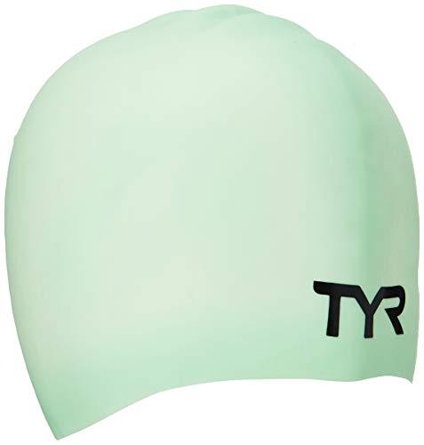TYR Long Hair Wrinkle-Free Silicone Swim Cap, Mint