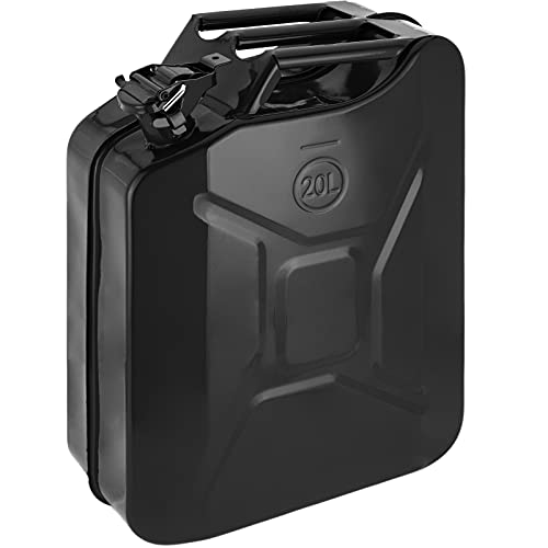 PrimeMatik - Bidón metálico para Gasolina o diésel 20 L Negro