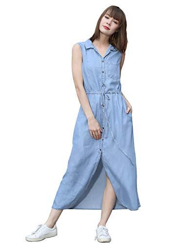 Anna-Kaci Women Adjustable Belt Sleeveless Button Down Denim Pocket Shirt Dress, Belt Light Denim, Small