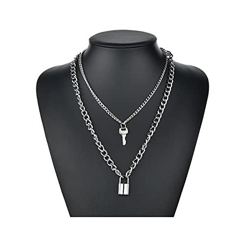 RXDZ Collar de Cadena de Capas múltiples de Hip Hop con Cerradura de corazón Punk Rock candado Colgante Colgante Collar de joyería (Color : Key Lock)