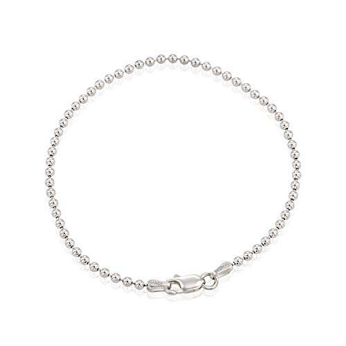 Stera Jewelry Italian Made 925 Sterling Silver 2.5 mm Ball Beads Chain Bracelet, 7.5 Inches