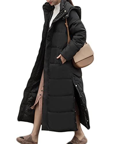 YAOTT Mujer Chaqueta de Plumas Engrosada Sudadera con capucha larga parka acampar al aire libre chaqueta acolchada cortavientos cálida a prueba viento bata impermeable Abrigo Largo Negro L