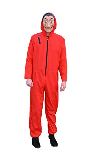 Dr. Baffi Haus des Geldes Kostüm - Money Heist kostüm - Casa de Papel Kostüm (Overall Rot und Maske) für Damen, Herren und Erwachsene - Kostuem für Halloween, Party, Karneval und Fasching (X-Large)