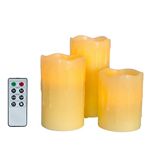 LampLust 3 Beeswax Flameless Pillar Candles with Warm White LEDs, Batteries & Remote Included