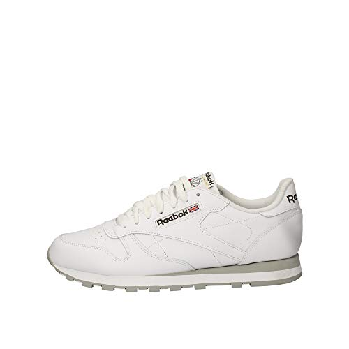 Reebok Classic Leather - Zapatillas de cuero para hombre, color blanco (int-white / lt. grey), talla 41