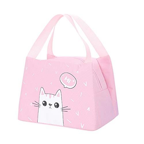Amuse-MIUMIU Lunchtasche Mittagessen Tasche wiederverwendbar Lunchbag mit wasserdichter isolierter Lunch Tasche für Kinder und Studenten,Thermotasche Kühltasche Isoliertasche Picknicktasche (Rosa)