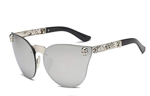 QPRER Sonnenbrille, Brille,Graue Sonnenbrille Roségold-Totenkopf Übergroße Sonnenbrille Designer-Sonnenbrille Für Damen Und Damenbrillen