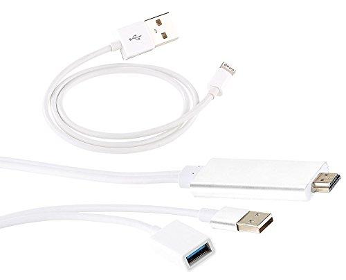 Callstel iPhone HDMI Kabel Lightning auf HDMI Adapter kompatibel mit iPhone iPad USB Strom 1080p Video Lightning Digital AV Adapter