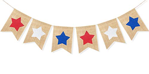 Uniwish Red White and Blue Stars Banner, Patriotic 4th of July Decorations American Independence Day Garden Flag Garland Burlap Bunting Sign