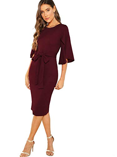 Floerns Women's Ruffle Sleeve Tie Waist Cocktail Party Bodycon Pencil Midi Dress Burgundy S