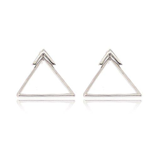 Sovats Pendientes Dobles Triángulo Plata Esterlina 925