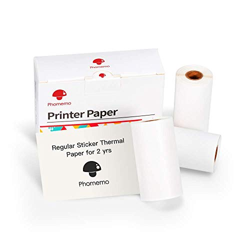 Phomemo Printable Sticker Paper White Direktthermopapier selbstklebend 53 x 30 mm für Phomemo M02/M02Pro/M02S/M03 Portable Bluetooth Pocket Mobile-Drucker, 3-Rollen