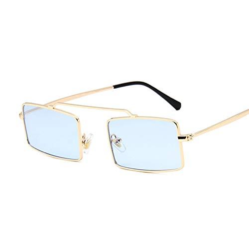FEIHAIYANY Gafas de sol para mujer retro con montura rectangular y montura para mujer, color dorado y azul