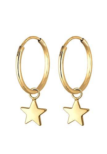 Elli Ohrringe Damen Creolen Stern Anhänger Verspielt aus 925 Sterling Silber