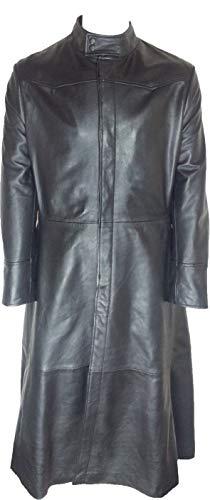 UNICORN Hommes Neo Matrix toute la longueur Réel en cuir Manteau Veste Noir #M4 Taille 42