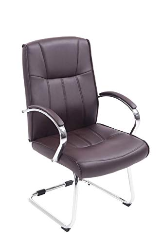 CLP Besucher Freischwinger-Stuhl BASEL V2 mit Armlehne - gepolstert braun